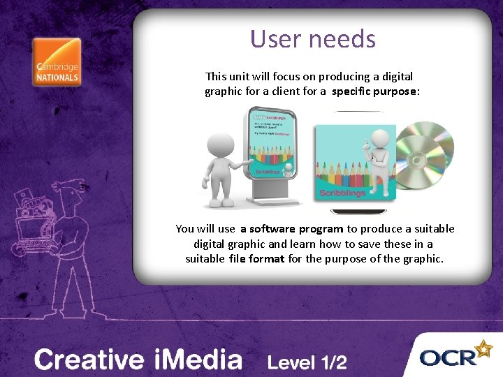 User needs This unit will focus on producing a digital graphic for a client