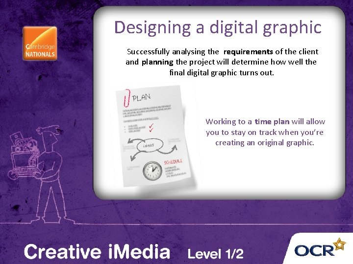 Designing a digital graphic Successfully analysing the requirements of the client and planning the