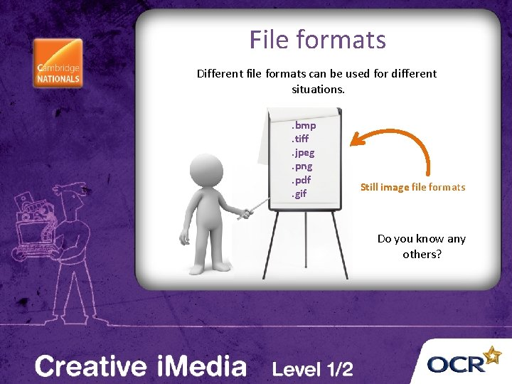 File formats Different file formats can be used for different situations. . bmp. tiff.