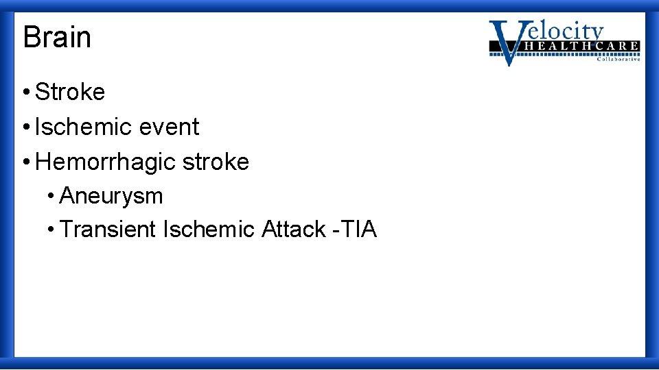 Brain • Stroke • Ischemic event • Hemorrhagic stroke • Aneurysm • Transient Ischemic