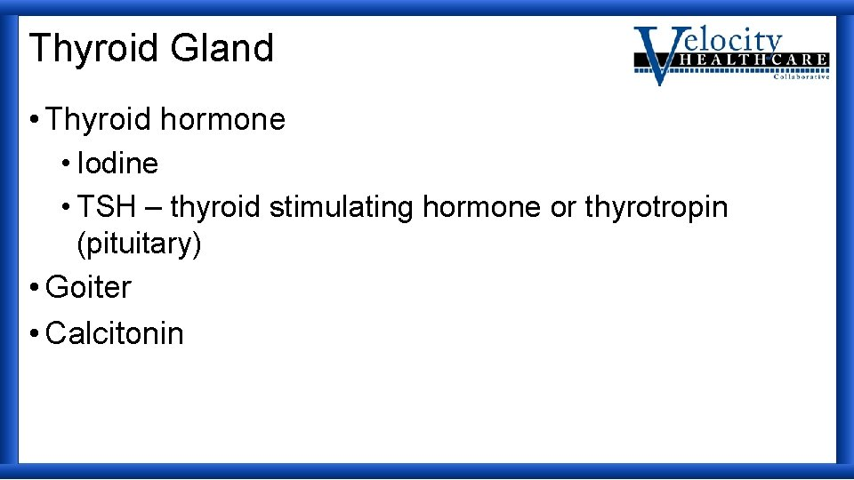 Thyroid Gland • Thyroid hormone • Iodine • TSH – thyroid stimulating hormone or