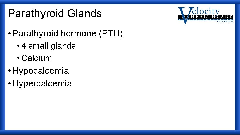 Parathyroid Glands • Parathyroid hormone (PTH) • 4 small glands • Calcium • Hypocalcemia
