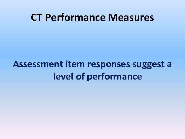 CT Performance Measures Assessment item responses suggest a level of performance