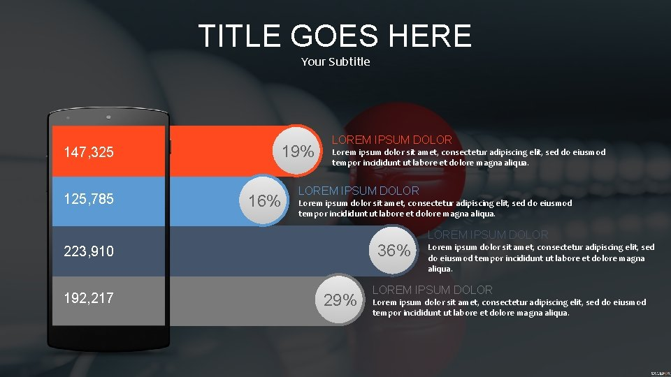TITLE GOES HERE Your Subtitle 147, 325 125, 785 19% 16% LOREM IPSUM DOLOR