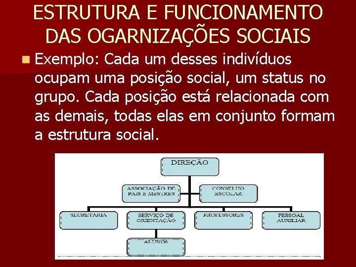 ESTRUTURA E FUNCIONAMENTO DAS OGARNIZAÇÕES SOCIAIS n Exemplo: Cada um desses indivíduos ocupam uma