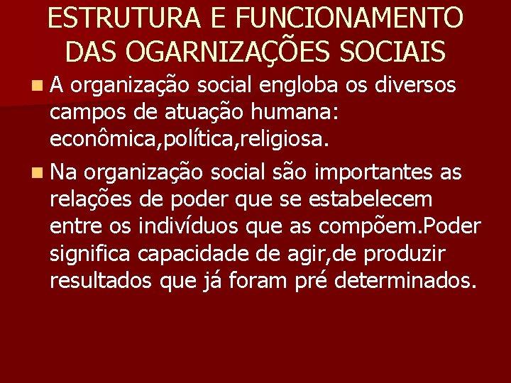ESTRUTURA E FUNCIONAMENTO DAS OGARNIZAÇÕES SOCIAIS n. A organização social engloba os diversos campos