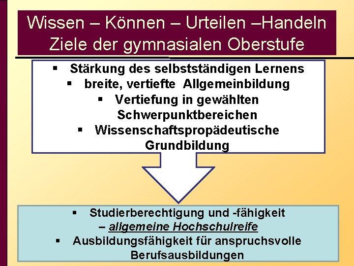 Wissen – Können – Urteilen –Handeln Ziele der gymnasialen Oberstufe § Stärkung des selbstständigen