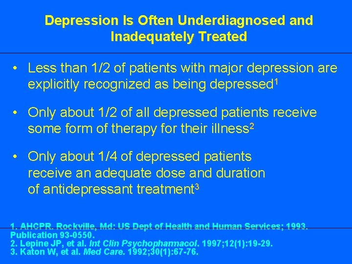 Depression Is Often Underdiagnosed and Inadequately Treated • Less than 1/2 of patients with