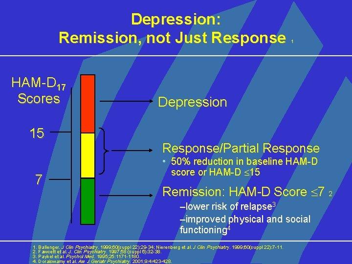 Depression: Remission, not Just Response HAM-D 17 Scores 15 7 1 Depression Response/Partial Response