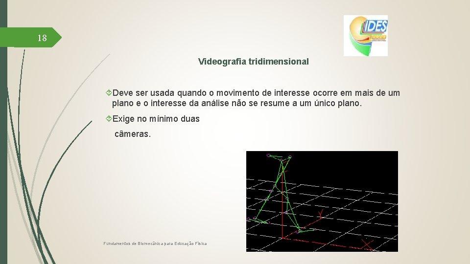 18 Videografia tridimensional Deve ser usada quando o movimento de interesse ocorre em mais