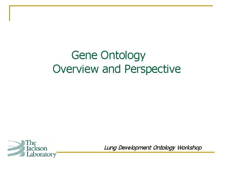 Gene Ontology Overview and Perspective Lung Development Ontology Workshop