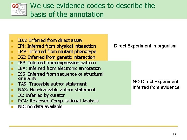We use evidence codes to describe the basis of the annotation n n n