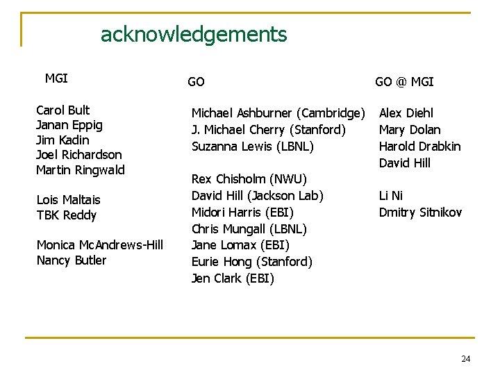 acknowledgements MGI Carol Bult Janan Eppig Jim Kadin Joel Richardson Martin Ringwald Lois Maltais