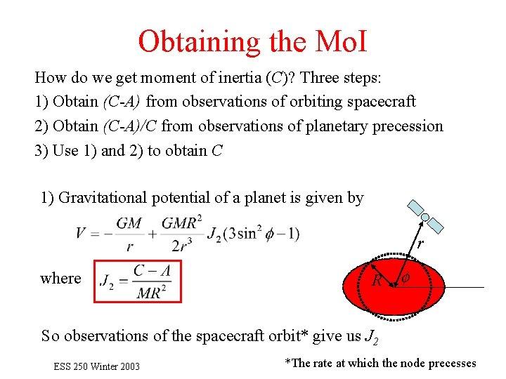 Obtaining the Mo. I How do we get moment of inertia (C)? Three steps: