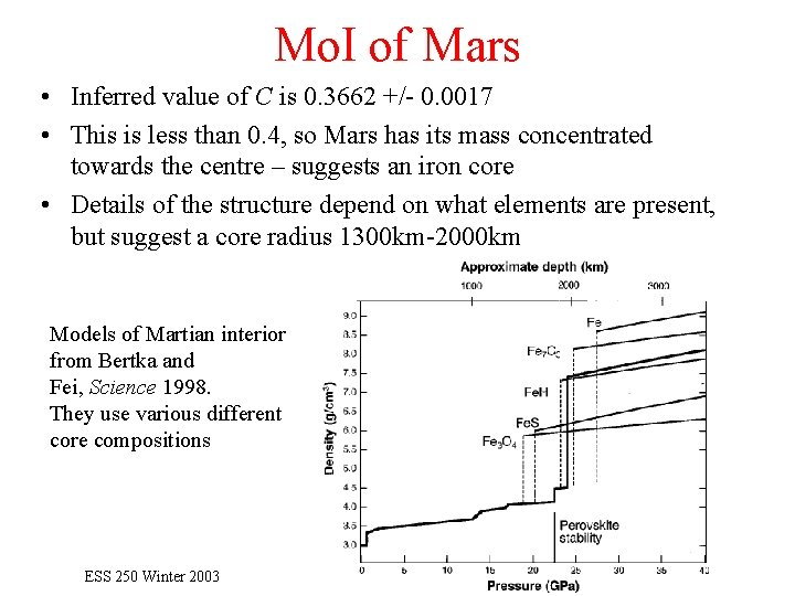 Mo. I of Mars • Inferred value of C is 0. 3662 +/- 0.
