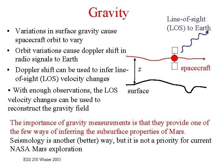 Gravity • Variations in surface gravity cause spacecraft orbit to vary • Orbit variations