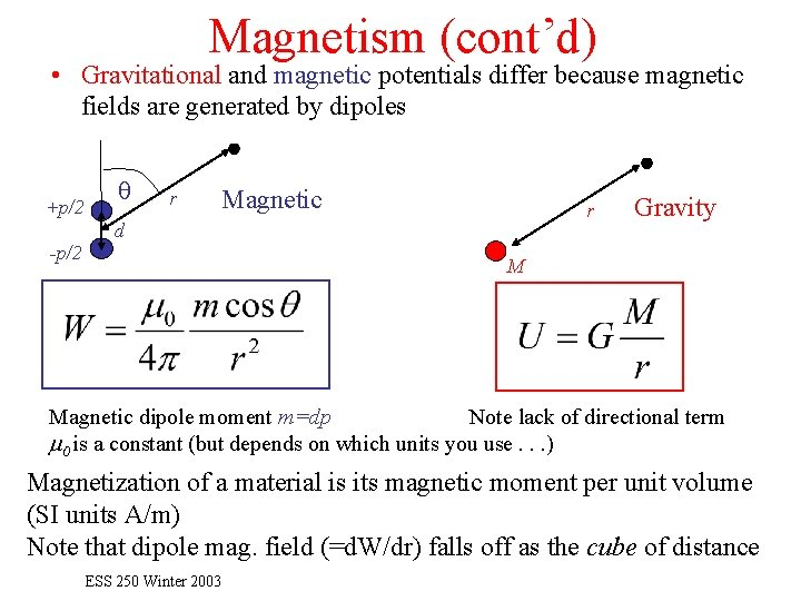 Magnetism (cont'd) • Gravitational and magnetic potentials differ because magnetic fields are generated by