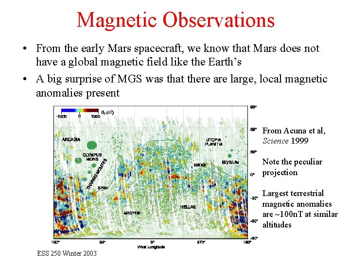 Magnetic Observations • From the early Mars spacecraft, we know that Mars does not