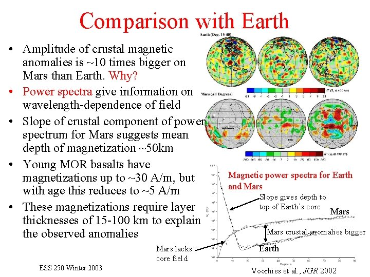 Comparison with Earth • Amplitude of crustal magnetic anomalies is ~10 times bigger on