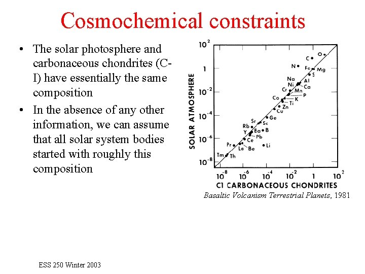 Cosmochemical constraints • The solar photosphere and carbonaceous chondrites (CI) have essentially the same