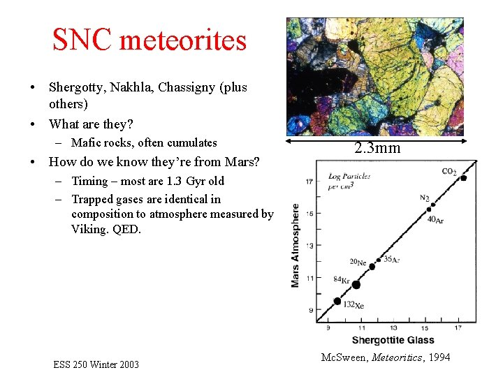 SNC meteorites • Shergotty, Nakhla, Chassigny (plus others) • What are they? – Mafic