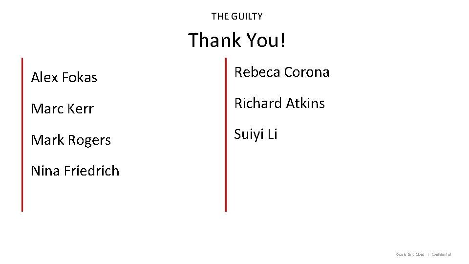 THE GUILTY Thank You! Alex Fokas Rebeca Corona Marc Kerr Richard Atkins Mark Rogers