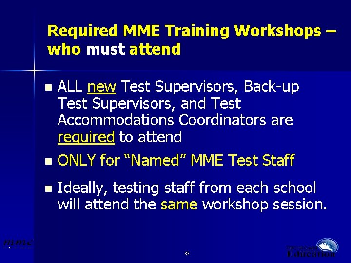 Required MME Training Workshops – who must attend ALL new Test Supervisors, Back-up Test