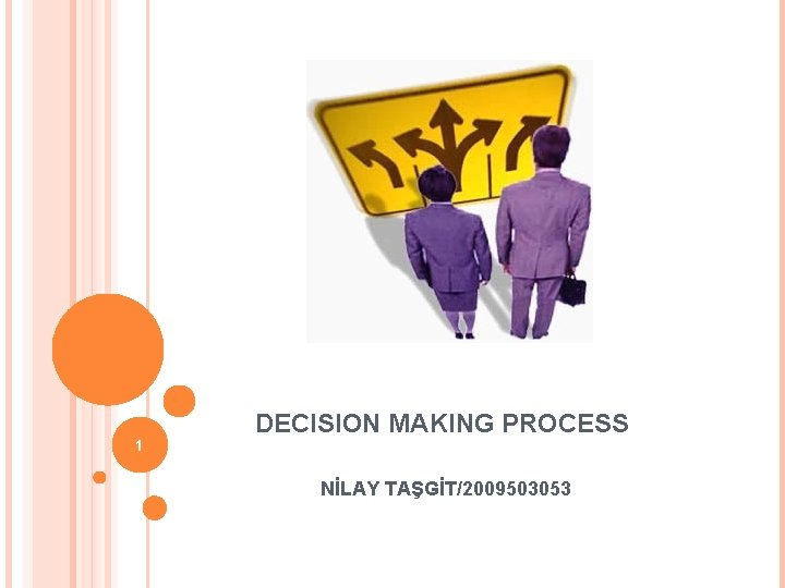 1 DECISION MAKING PROCESS NİLAY TAŞGİT/2009503053