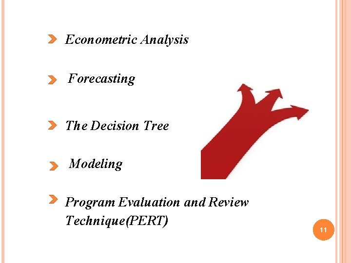 Econometric Analysis Forecasting The Decision Tree Modeling Program Evaluation and Review Technique(PERT) 11