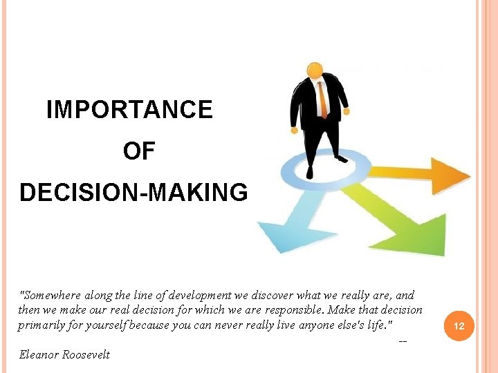 """IMPORTANCE OF DECISION-MAKING """"Somewhere along the line of development we discover what we really"""