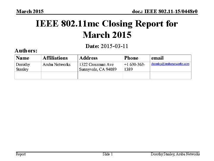 March 2015 doc. : IEEE 802. 11 -15/0448 r 0 IEEE 802. 11 mc