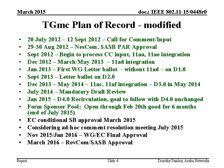 March 2015 doc. : IEEE 802. 11 -15/0448 r 0 TGmc Plan of Record