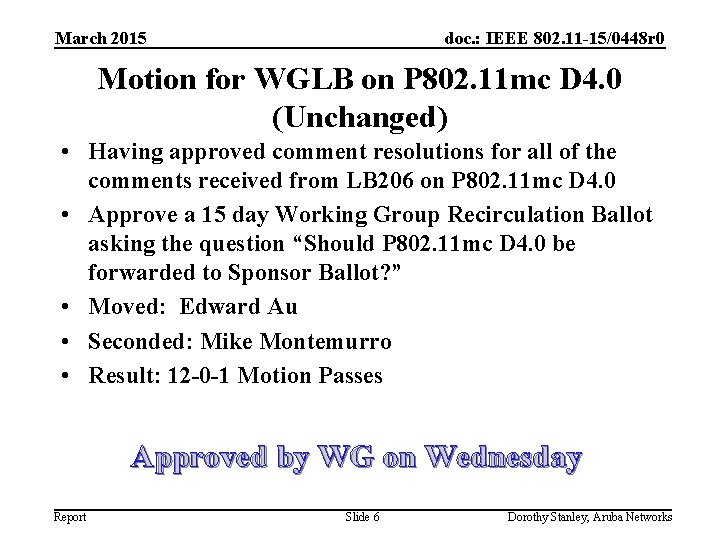 March 2015 doc. : IEEE 802. 11 -15/0448 r 0 Motion for WGLB on