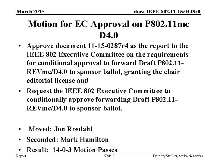 March 2015 doc. : IEEE 802. 11 -15/0448 r 0 Motion for EC Approval