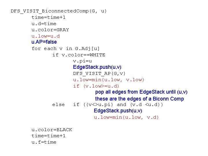 DFS_VISIT_Biconnected. Comp(G, u) time=time+1 u. d=time u. color=GRAY u. low=u. d u. AP=false for