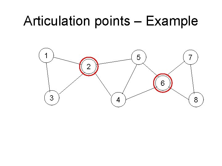 Articulation points – Example 1 5 7 2 6 3 4 8