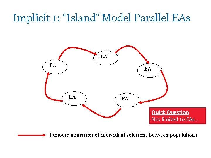 "Implicit 1: ""Island"" Model Parallel EAs EA EA EA Quick Question Not limited to"