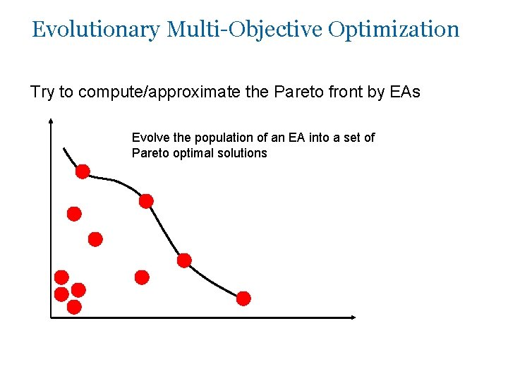 Evolutionary Multi-Objective Optimization Try to compute/approximate the Pareto front by EAs Evolve the population