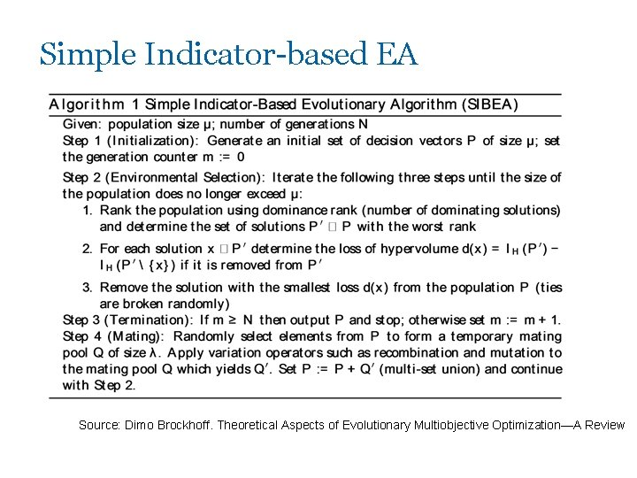 Simple Indicator-based EA Source: Dimo Brockhoff. Theoretical Aspects of Evolutionary Multiobjective Optimization—A Review