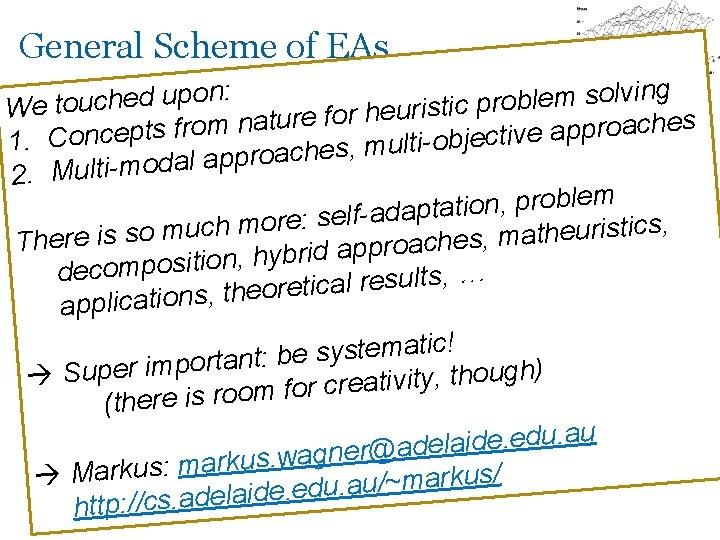 General Scheme of EAs g : n i n v l o o p