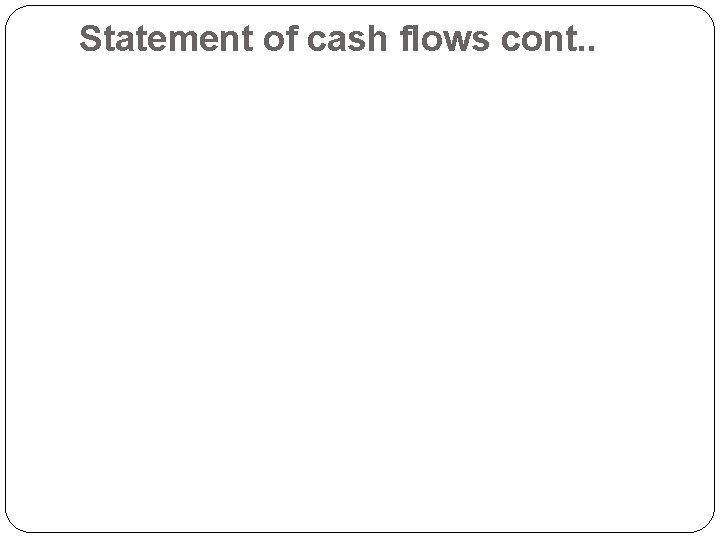 Statement of cash flows cont. .