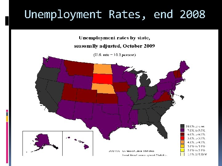 Unemployment Rates, end 2008