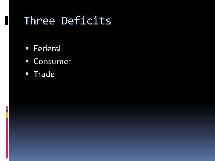 Three Deficits Federal Consumer Trade