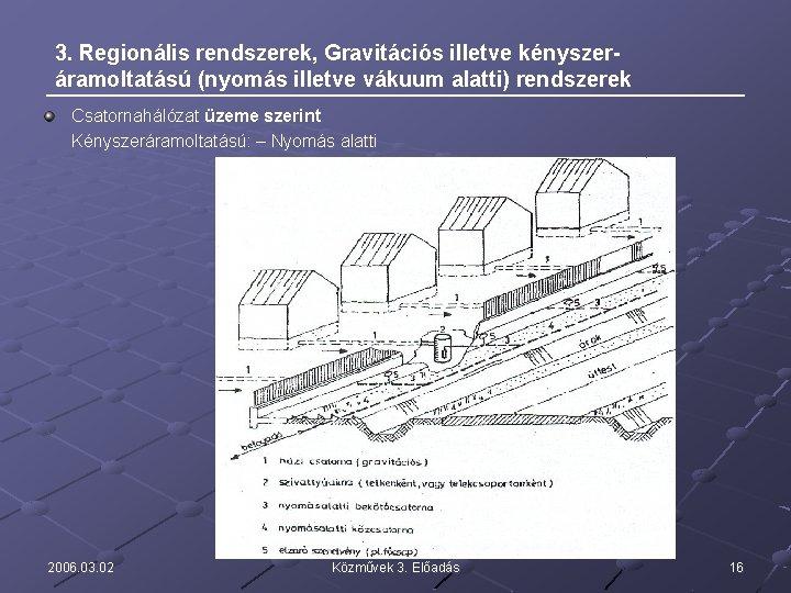 3. Regionális rendszerek, Gravitációs illetve kényszeráramoltatású (nyomás illetve vákuum alatti) rendszerek Csatornahálózat üzeme szerint