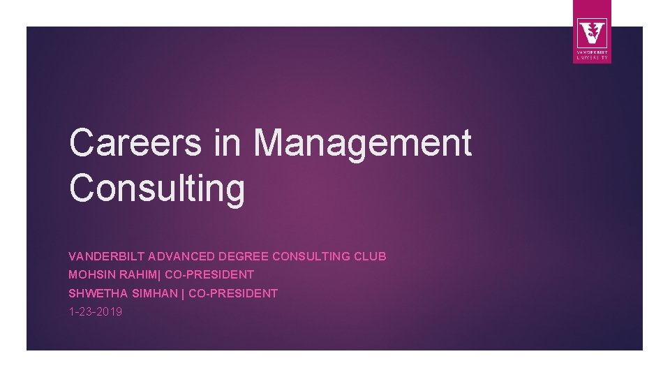 Careers in Management Consulting VANDERBILT ADVANCED DEGREE CONSULTING CLUB MOHSIN RAHIM| CO-PRESIDENT SHWETHA SIMHAN
