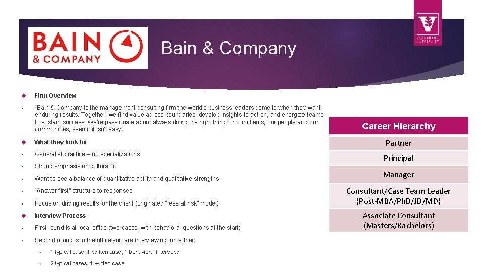 """Bain & Company Firm Overview • """"Bain & Company is the management consulting firm"""