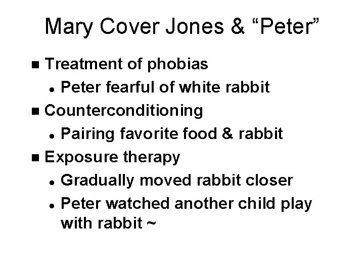 """Mary Cover Jones & """"Peter"""" Treatment of phobias l Peter fearful of white rabbit"""