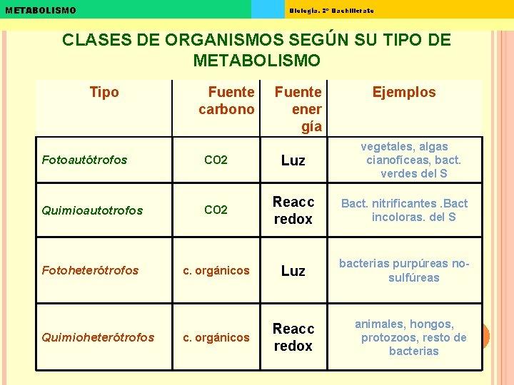 METABOLISMO Biología. 2º Bachillerato CLASES DE ORGANISMOS SEGÚN SU TIPO DE METABOLISMO Tipo Fuente