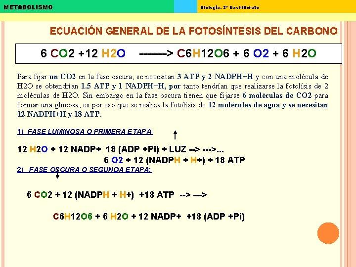 METABOLISMO Biología. 2º Bachillerato ECUACIÓN GENERAL DE LA FOTOSÍNTESIS DEL CARBONO 6 CO 2