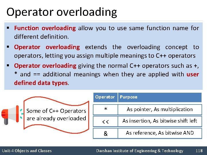 Operator overloading § Function overloading allow you to use same function name for different